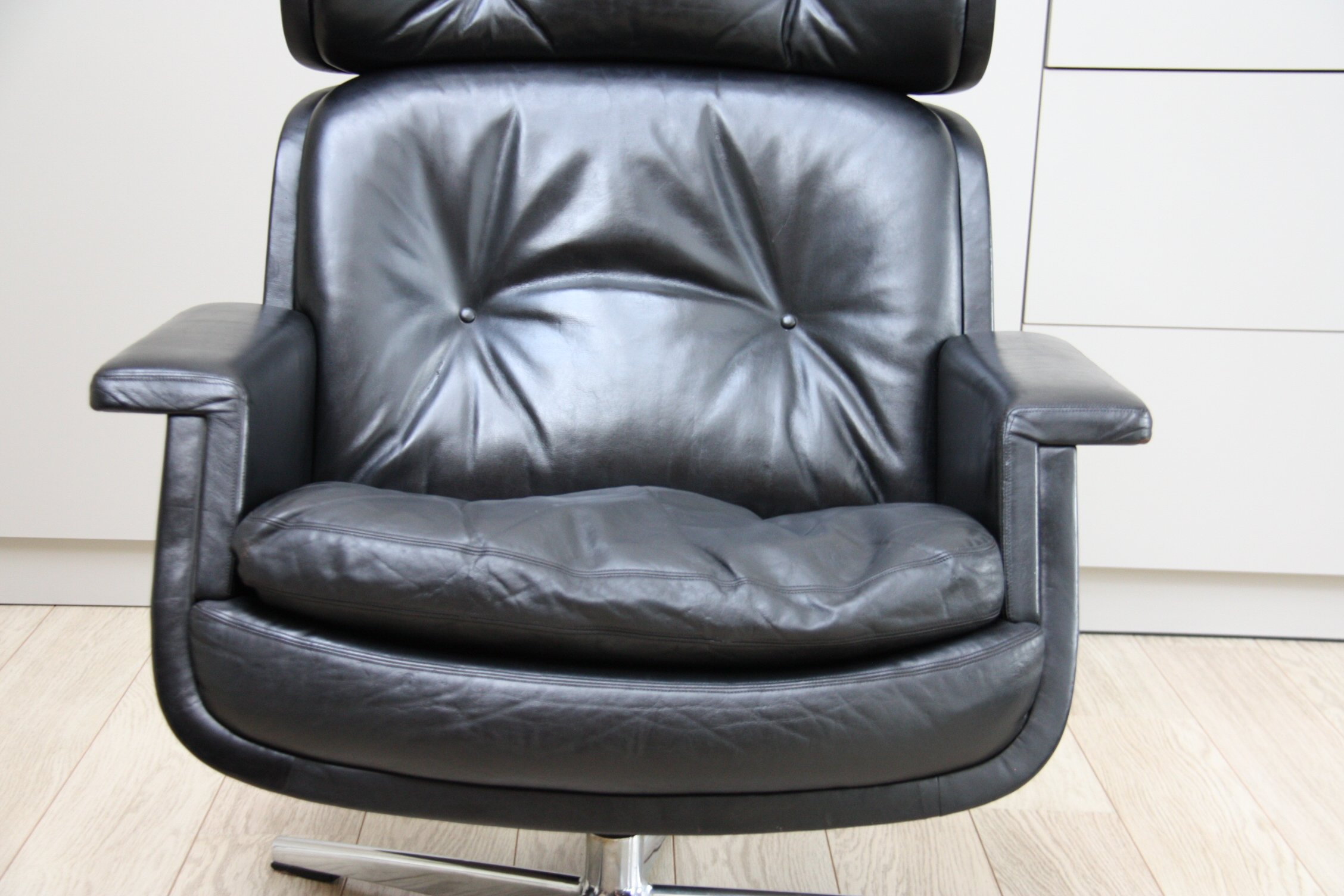 Tremendous Lounge Chair In Black Leather Eugen Schmidt Germany 1960S Gmtry Best Dining Table And Chair Ideas Images Gmtryco