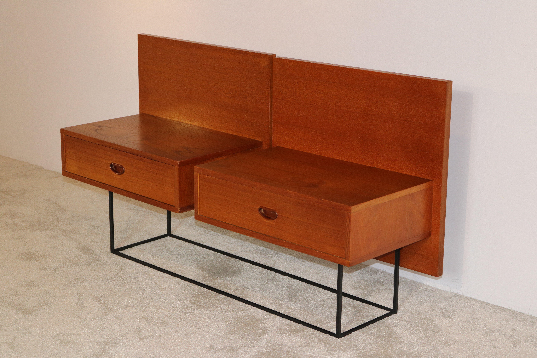 floating bedside tables in teak veneer belgium 1960 s